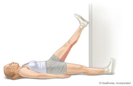 Hamstring stretch in doorway