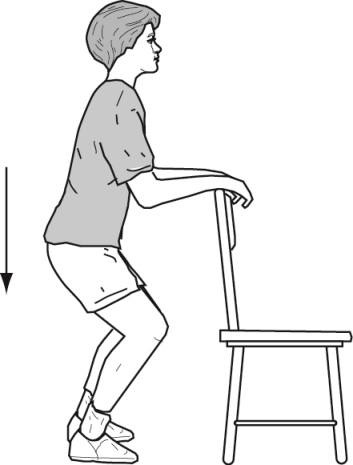 Woman stands holding onto chair starting to squat part way to ground