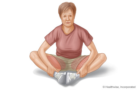Groin stretch exercise